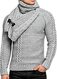 Men's Round Neck Long Sleeve Twist Patterned Pullover Sweater with Detachable Bibs
