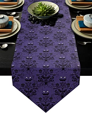 Halloween Table Runner-Cotton linen-Long 90 inche Haunted House Dresser Scarves,Kitchen Coffee/Dining Farmhouse Tablerunner f