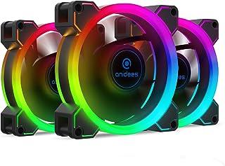 anidees AI Aureola Duo 80mm 3er RGB PWM Lüfter Kompatibel mit adressierbaren 5V 3pin RGB Header, für Gehäuselüfter, Kühlerlüfter, mit Fernbedienung (AI AR DUO8)