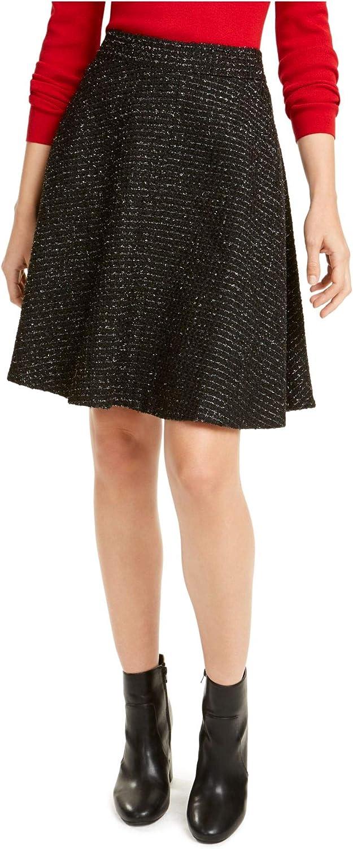 Maison Jules Womens Metallic Tweed A-Line Skirt