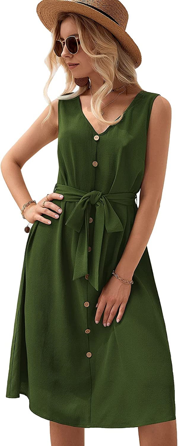 Milumia Women's Casual Button Front V Neck Sleeveless High Waist Belted Midi Dress