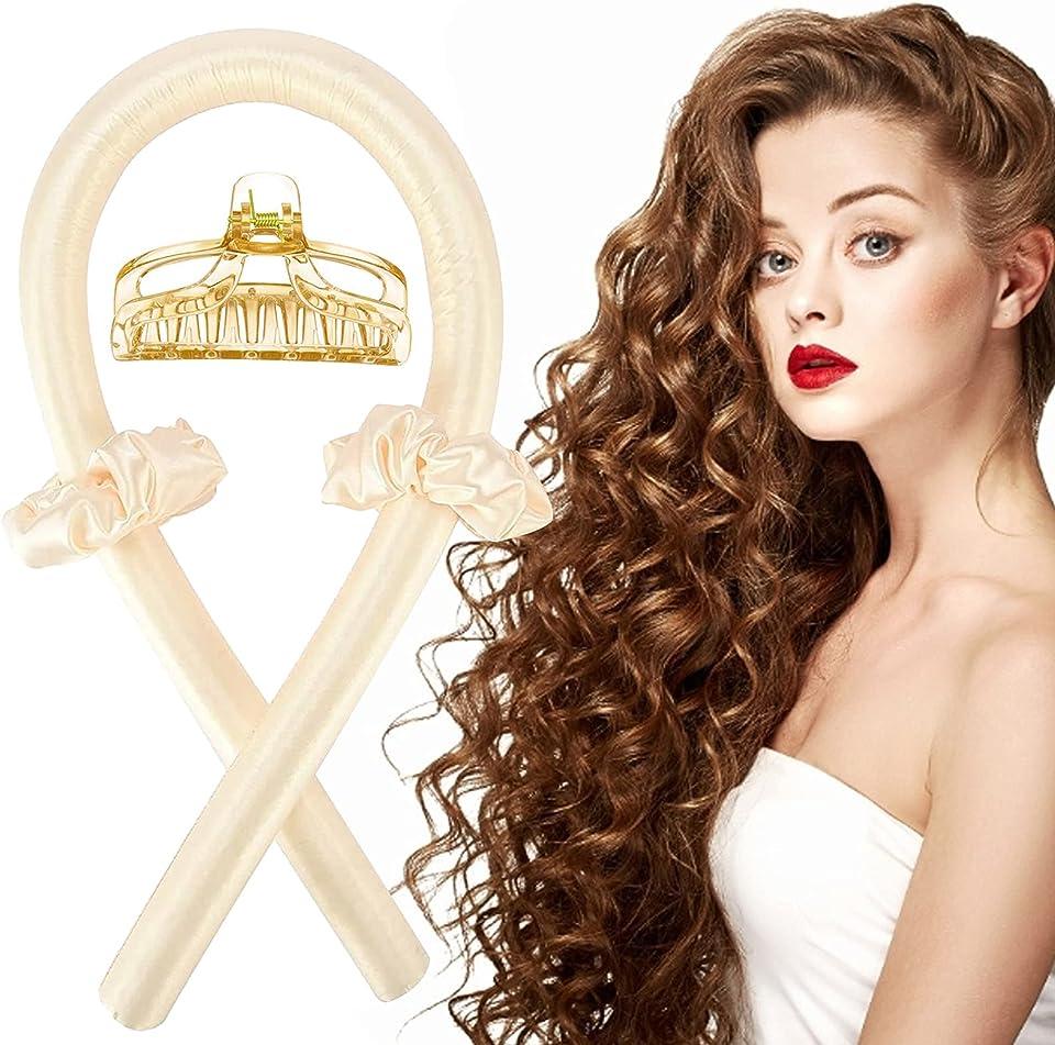 Silk Hair Curler, Lockenwickler,Curling Rod Stirnband Curler,Foam Heatless Curlers,Heatless Curling Ribbon,Soft Headband Wave Formers Haarlocker DIY Hair Styling Kit,Hitzefrei Locken Band