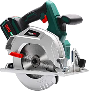 Sponsored Ad – Cordless Circular Saw, POSENPRO 20V 4.0Ah Battery Circular Saw, 185mm Electric Saw w/Brushless Motor, 0-510...