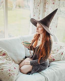 Sombrero de bruja marron de lana dark wicca halloween disfraz cosplay