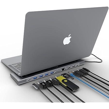 Docking Station XtremeMac Adaptador USB C 12 en 1 , estación de tipo C para MacBook y computadoras portátiles: Ethernet, 4x USB 3.0, 2x USB-C PD, 2x 4K HDMI, micro audio, lector de tarjetas SD / TF