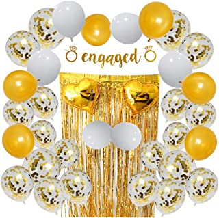 Engagement Party Decorations Set, Includes Confetti Balloons, Engaged Banner, Gold and White Balloons, Tinsel Curtain and Heart Balloons Also Ideal for Bachelorette Party Supplies or Bridal Shower