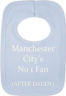Babero personalizado, con la frase «Man city style - No 1 Fan - AFTER DADDY» (sin pegatinas), con bonito bordado