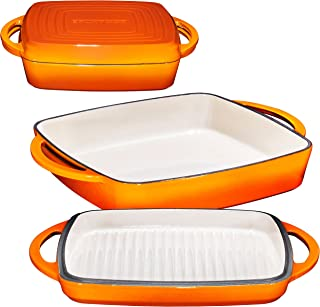 2 in 1 Enameled Cast Iron 11 Inch Square Casserole Baking Pan With Griddle Lid 2 in 1 Multi Baker Dish, Pumpkin Spice