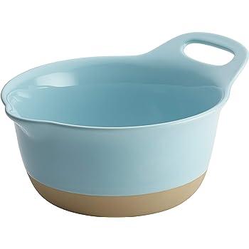 Rachael Ray Collection Ceramic Mixing Bowl Set, Light Blue, 3-Quart
