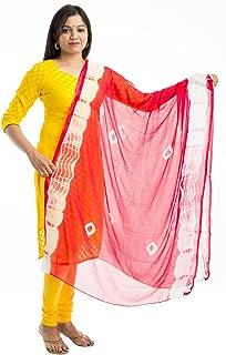 Women's Chiffon Bandhani Dupatta, Hijab, Stole, Scarf (Rani Pink)