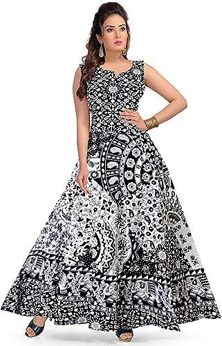 Women s Long Midi Dress Jaipuri animal Print Cotton Maxi Dress Multicolor Up to XXL Free Size