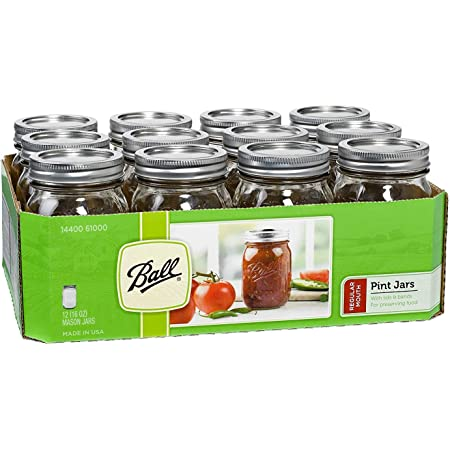 Ball Regular Mouth 16-Ounces Mason Jar with Lids and Bands (12-Units), 12-Pack, AS SHOWN