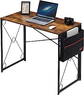 VECELO Bureau d'ordinateur pliable avec sac de rangement Marron