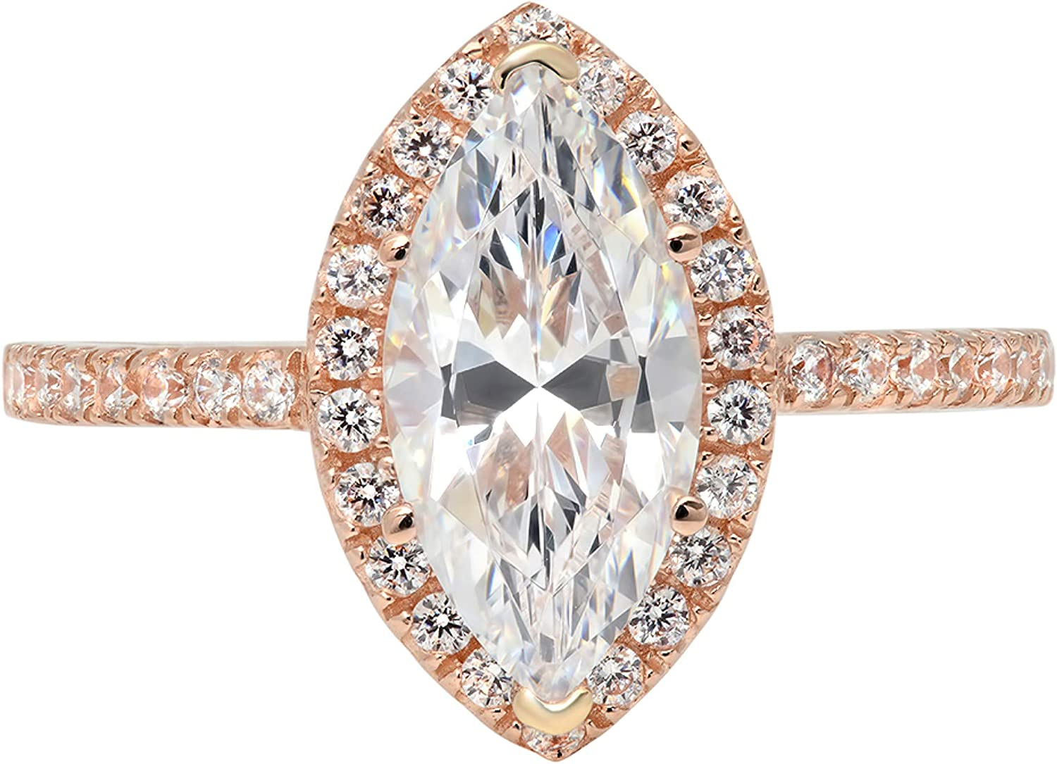 2.38ct Brilliant Marquise Cut Solitaire with Accent Halo Stunning Genuine Lab Created White Sapphire Ideal VVS1 & Simulated Diamond Engagement Promise Anniversary Bridal Wedding Ring 14k Rose Gold