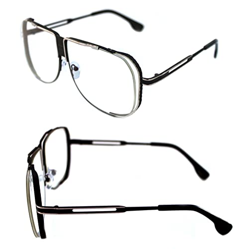 c6ad5250df9 Men s Vintage 80 s Large Old School Hip Hop Oversize Tycoon Square Shape  Frame Grandmaster Eye Glasses