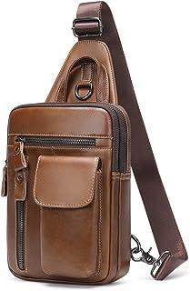 Mochila de un solo hombro de piel Sling Bag bolso de hombro para hombre bolso bandolera paquete de pecho vintage para depo...
