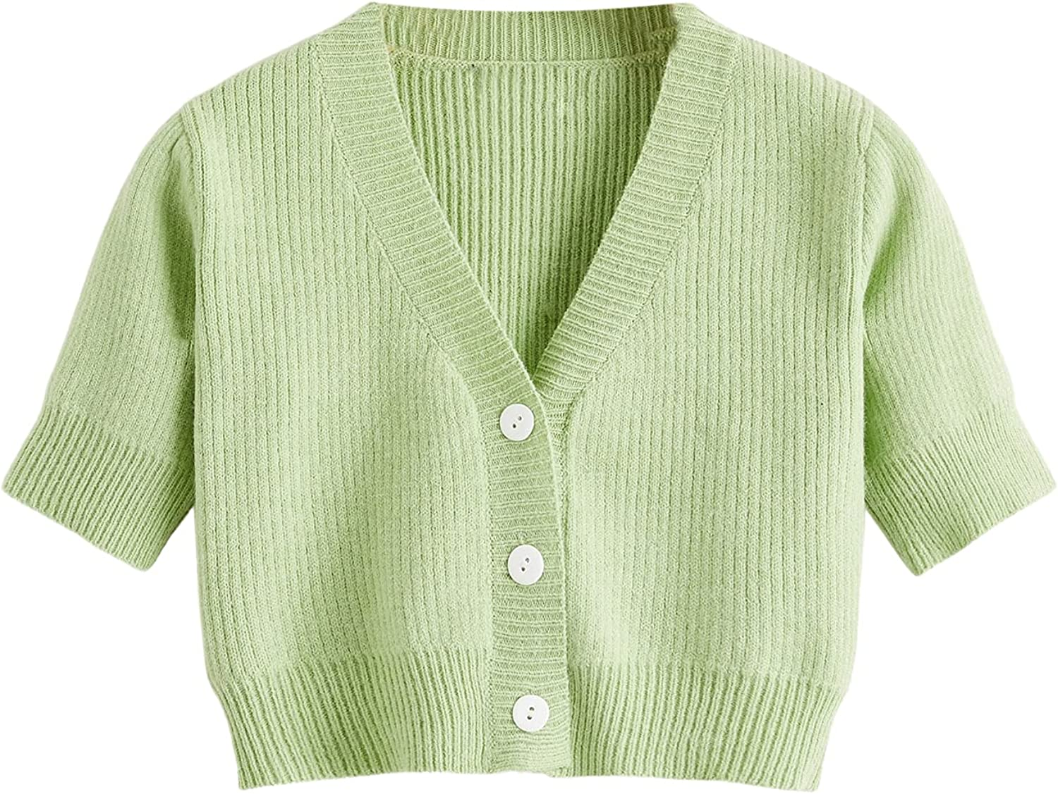 SheIn Women's Cropped Cardigan Short Sleeve Button Down V Neck Knitted Sweater