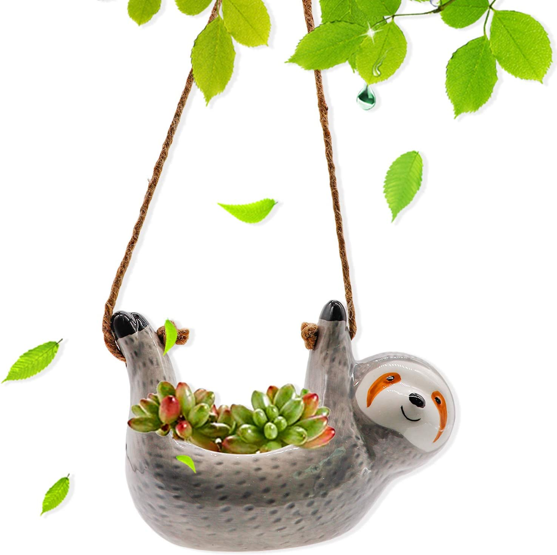 BEARAE Ceramic Sloth Hanging Bargain Tulsa Mall Planter Pot Indoor Hangin for Cute