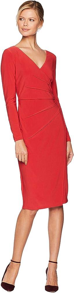 Long Sleeve Side Pleated Dress