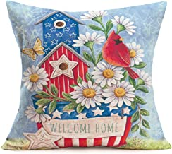 Hopyeer Welcome Home Quote Decor Throw Pillow Covers White Daisy Flowers with Red Cardinal Bird Blue Stars and Stripes Flag Cotton Linen Pillowcase Cushion Covers for Home Sofa 18x18 (wl Home)