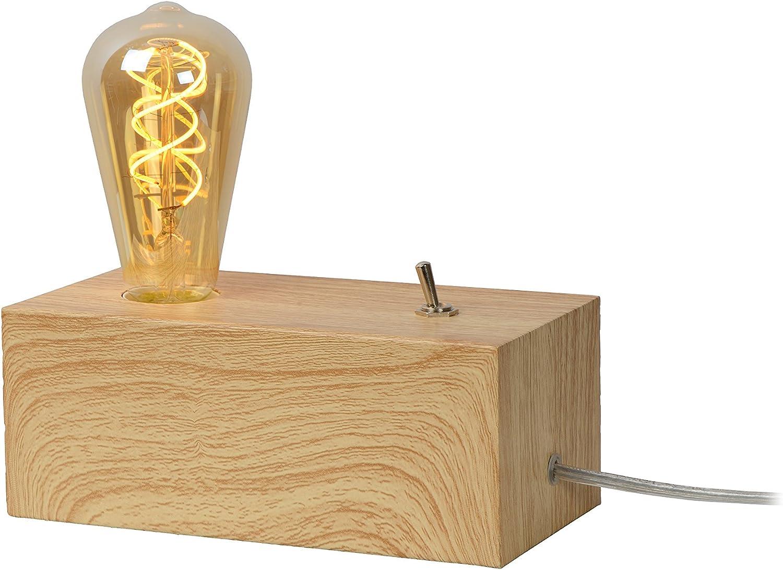 Lucide Edison - Tischlampe, Metall, E27, 60 W, holz, 20 x 10 x 19 cm