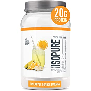 """Isopure Infusions, Refreshingly Light Fruit Flavored Whey Protein Isolate Powder,""""Shake Vigorously & Infuses in a Minute"""", Pineapple Orange Banana, 36 Servings"""