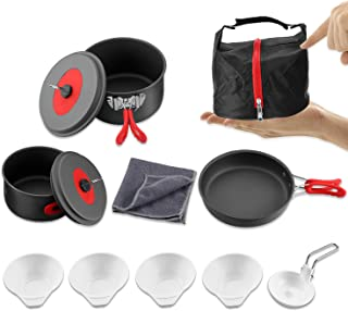 Andake Camping Cookware Set, Anodized Aluminum Camping Pots and Pans, BPA-FREE Lightweight Durable Folding Mess Kit, Non-stick and Scratch-free for 2-3 Persons Family Outdoor Camping Hiking Fishing Ba