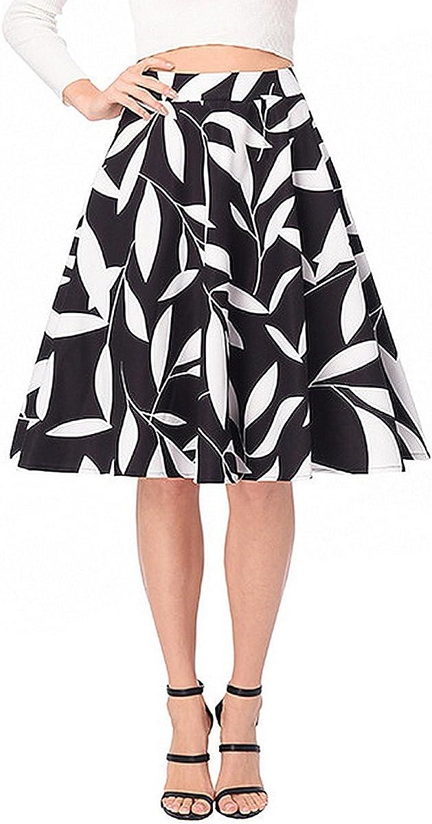 Adela Boutique Adela Women's A-Line Skirts Print High Waist Midi Swing Skirt