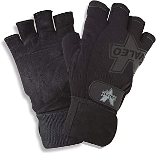 Valeo Performance Wrist Wrap Lifting Gloves with Brushed Leather Palm, Double Stitching, and Padded Palms for for Workout, Gym and Fitness Training - Men and Women