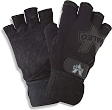 Valeo Performance Wrist Wrap Lifting Gloves with Brushed Leather Palm, Double Stitching, and Padded Palms for for Workout,...