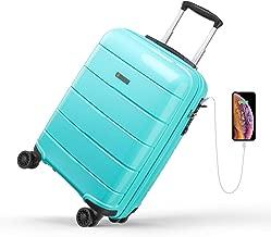 REYLEO, Valigia Rigida da Viaggio con Porta di Ricarica USB, 100% PC di Trolley con Lucchetto TSA,Bagaglio a Mano con 4 Ruote Silenziose e Colori Speciali.(Blu Tiffany, 55 cm, 31.5 L) …