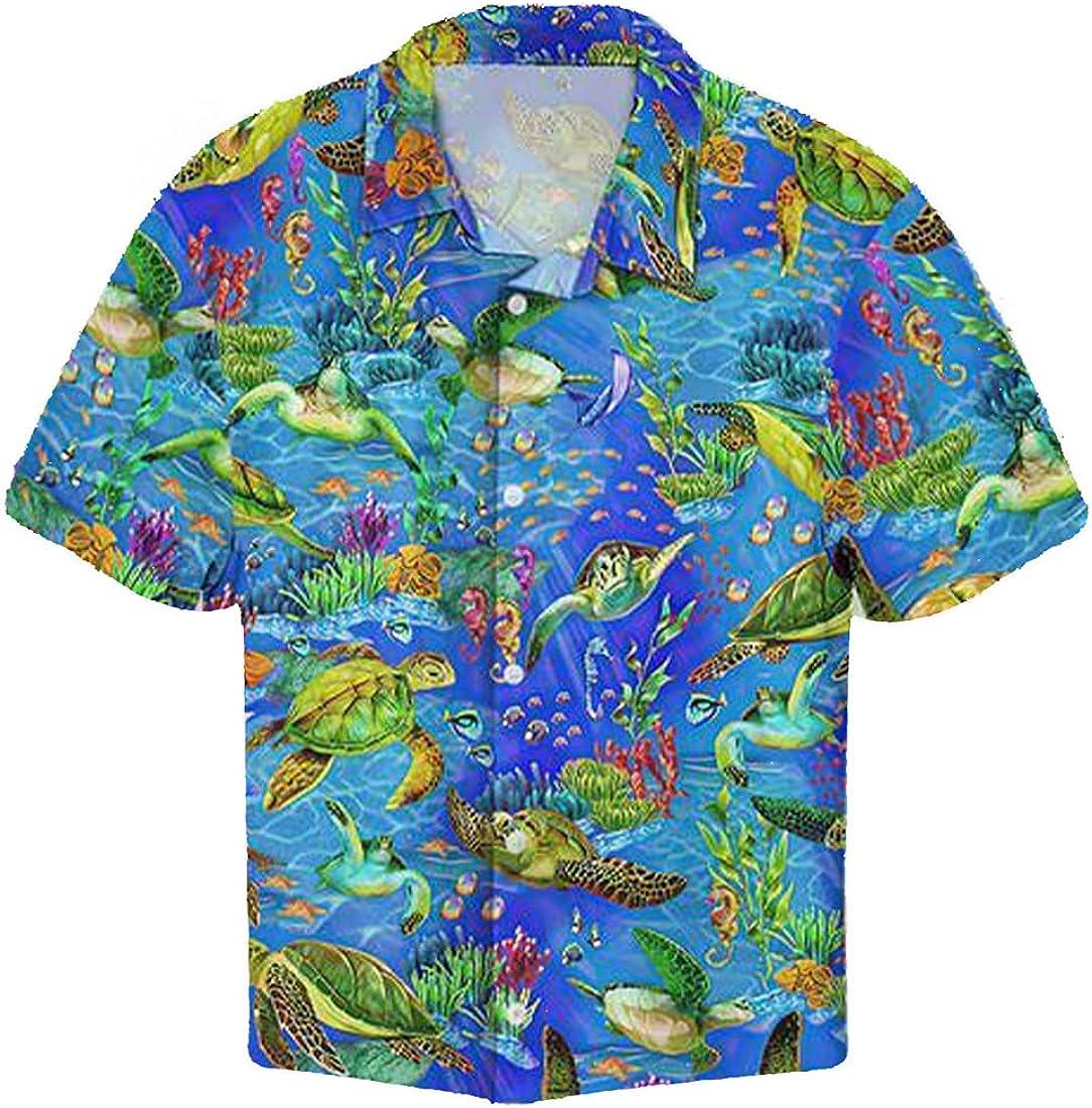 Turtle Sea Hawaiian Shirt - Button Down Short Sleeve Shirts for Men Women Series 16