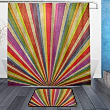 LORVIES Ranibow Sunbeams Grudge Bathroom Set, Polyester Fabric Shower Curtain (72 X 72 Inch) with Bath Mats Rugs(15.7 X 23.6 Inch)-12 Rings