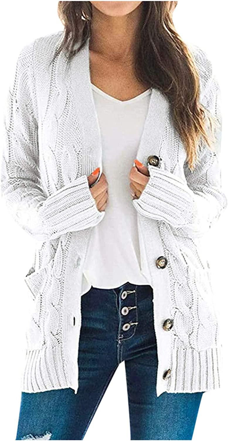 Cardigan for Women Solid Color Casual Decorative Pocket Long Sleeve Outwear Sweater