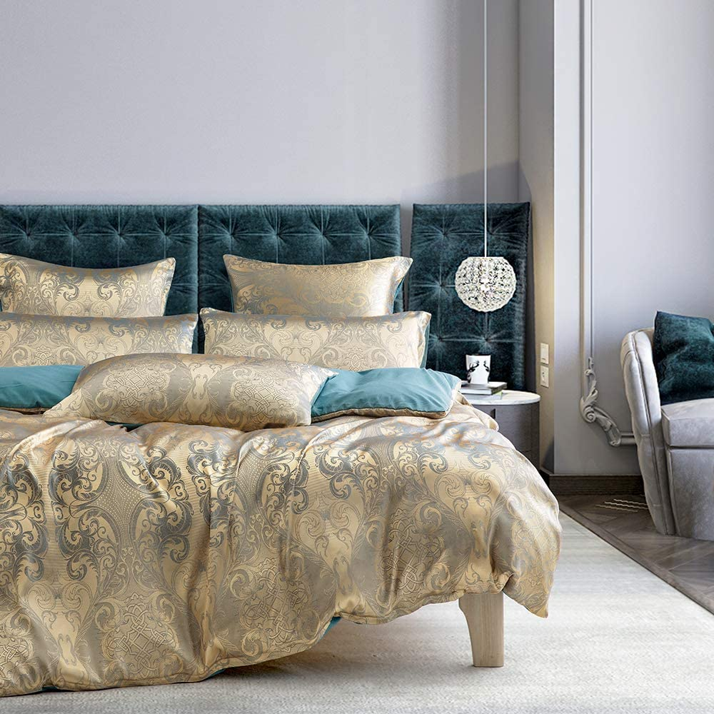 Lurson Jacquard Selling Gold Duvet Cover Set S Luxurious Max 68% OFF Reversible Teal