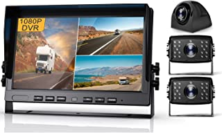 $319 » Fursom 1080P DVR Wired Backup Camera and 10'' Monitor Kit, Quad Split Screen, IP69 Waterproof Side View Camera x 2, Rear V...
