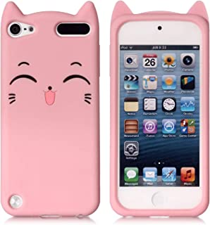 iPod Touch 7 Case, iPod Touch 5,6 Case, Fashion Cute 3D Pink Meow Party Cat Kitty Kids..
