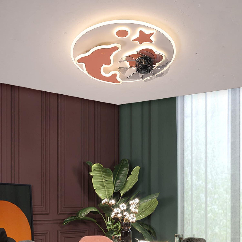 Ventiladores De Techo Modernos Con Luces, Ventiladores De Techo Con Luz LED De 50 Cm Para El Hogar, Techo Moderno, Decoración De Habitaciones Interiores, Ventilador De Techo Interior-Pink  dolphin