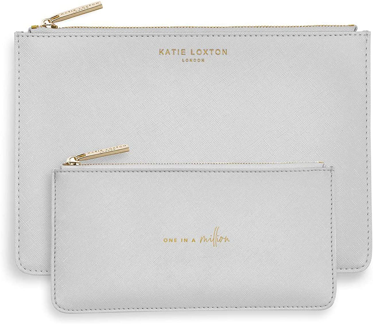 Katie Loxton One In A Million Womens Large & Slim Vegan Leather Clutch Perfect Pouch Boxed 2 Piece Set Pale Grey