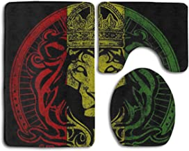 Paquete de 3 banderas africanas The Lion King of Judah Rasta Cosy Memory Foam Tub-Shower Set de alfombras de baño, respaldo de goma antideslizante Secado rápido - Súper absorbentes Alfombras para alfo