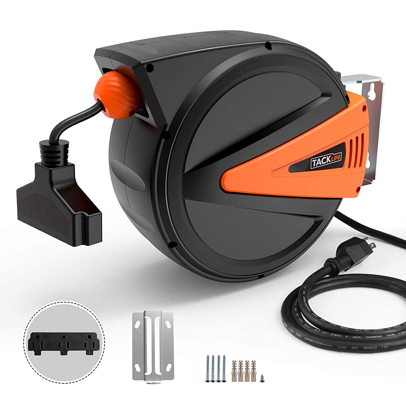 50+4.5ft Retractable Extension Cord, TACKLIFE Cord Reel, 14AWG, 3C SJTOW, 180°Swivel Ceiling or Mounting Metal Slotted Base, Tri Tap Connector, Reset Button and Adjustable Stopper, GCR2A