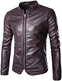 GAOZHIQUAN AU Spring and Autumn New Large Size Men Standing Collar Leather high-end European and American Bars Shengpi Jackets M-5XL (Color : Red, Size : 5XL)