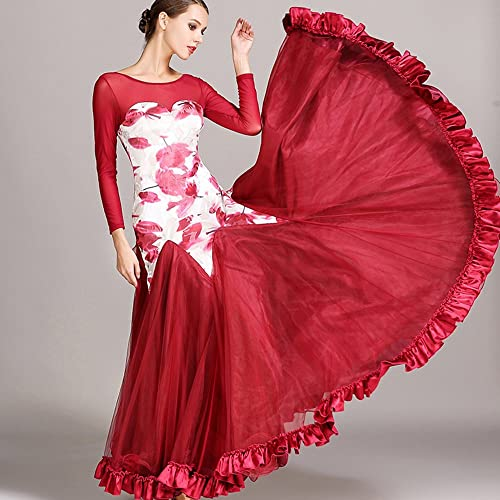 Liu Sensen Moderne Dame Grand Pendule Velours Fleur Moderne Danse Dressmodern Danse Robe Tango Et Valse Danse Robe Danse Compétition Jupe Manches Longues Fil Filets Costume De Danse