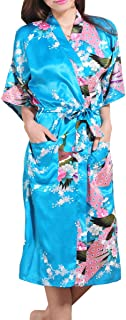 Women Kimono Long Robe Satin Printed Nightwear Bridesmaid Bathrobe Sleepwear