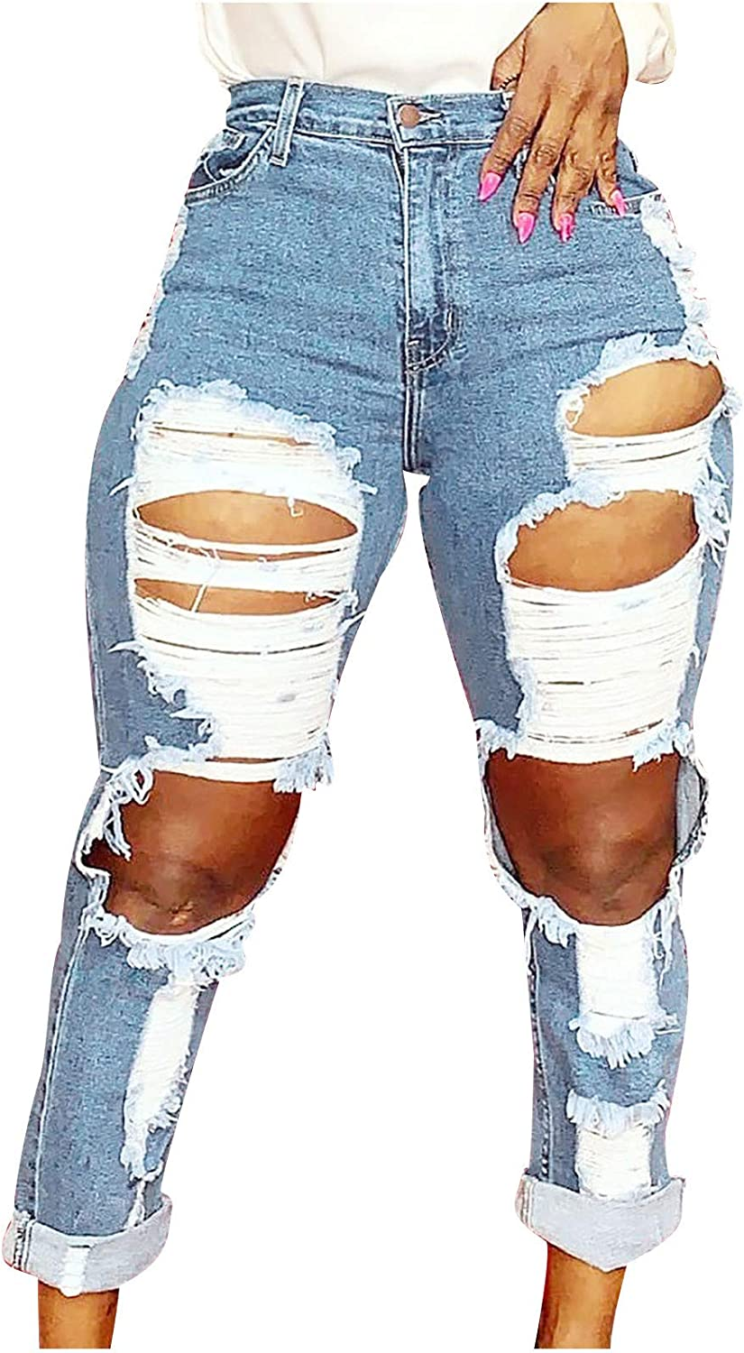 LONEA High Rise Denim Jeans for Women Ripped Stretch Pocket Pants Slim Rolling-Up Jeans