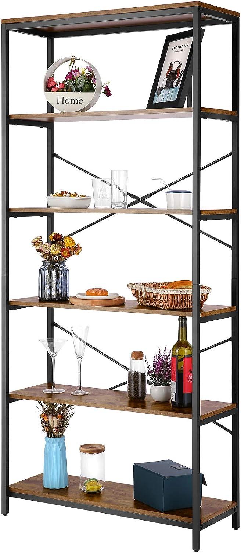 Devo 5 Tier Book Shelf Metal Wood Storage Shelves for Multipurpose Organizer Home Office, Functional Book Shelves Display Perfect for Home Office Storage Needs,Bookcase for Kitchen Bedroom Living Room