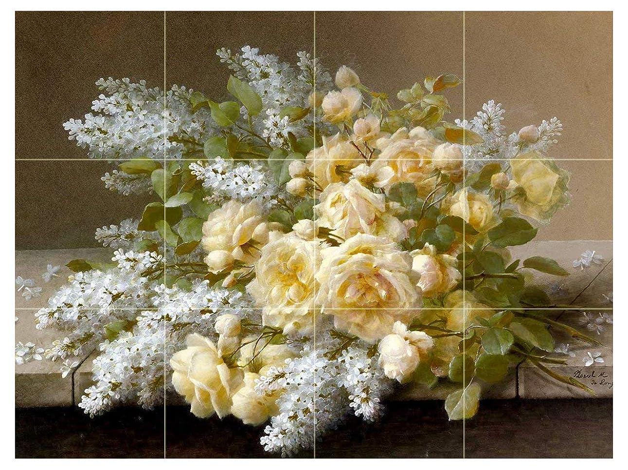 放射性運搬コモランマStill Life with Roses andホワイトLilacs by Raoul de Longpreフラワータイル壁画キッチンバスルーム壁後ろの油ストーブ範囲シンク止め板4?x 3?4.25インチセラミック、光沢 4.25