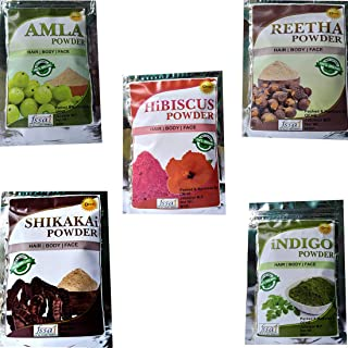 OEHB 100% Natural Organic/Hibiscus/Amla/Shikakai/Reetha/& Indigo Powder Natural Hair Treatment |EACH 50 GM Combo Pack