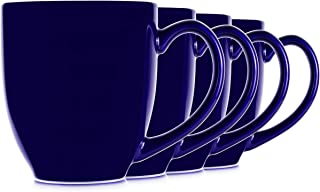 14oz Blue Cobalt Mugs for Coffee or Tea. Large Handles and Ceramic Construction, Set of 4 by Serami