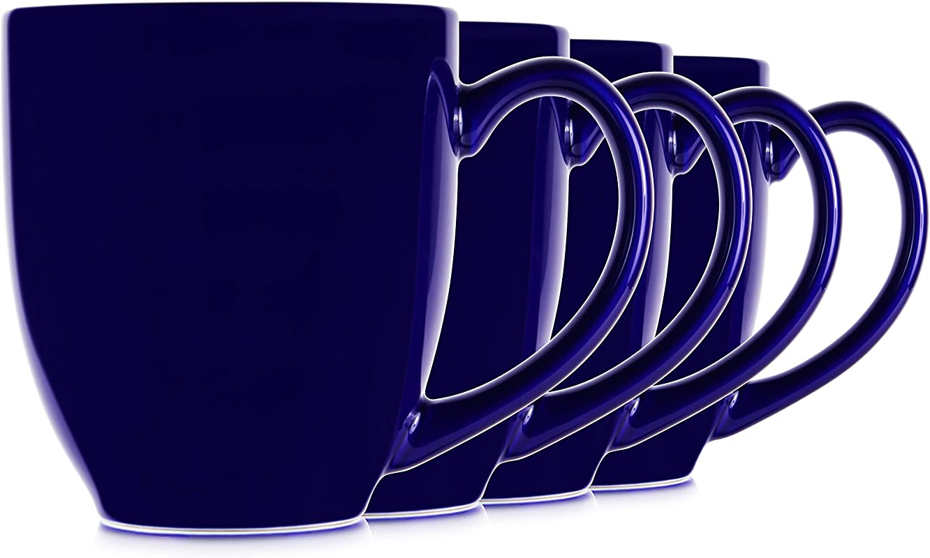 14oz Blue Cobalt Mugs For Coffee Or Tea Large Handles And Ceramic Construction Set Of 4 By Serami